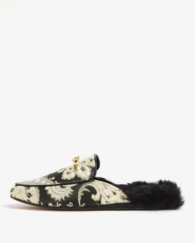 Čierno-zlaté dámske papuče s umelou kožušinou Ted Baker Kerriry