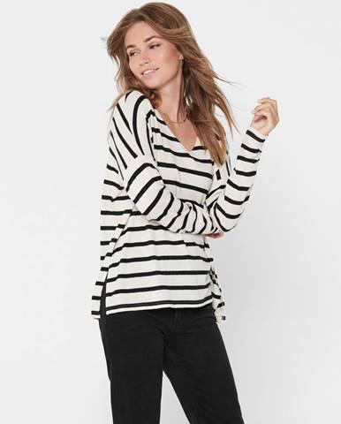 Čierno-biely pruhovaný basic sveter ONLY Mayea