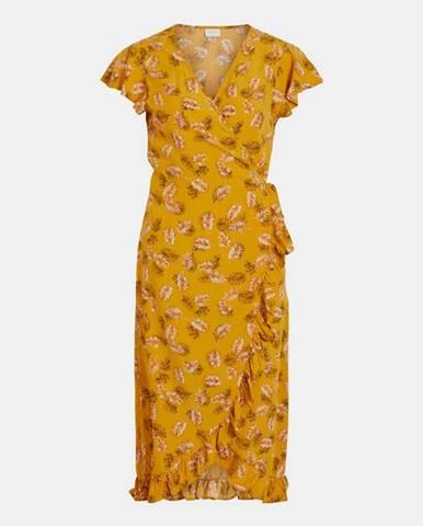Horčicové vzorované zavinovacie šaty VILA