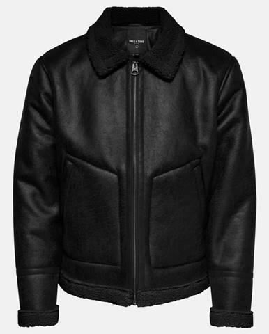 Čierna koženková bunda ONLY & SONS