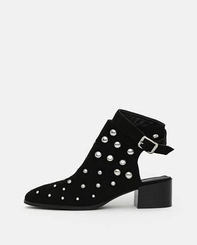 Čierne členkové topánky v semišovej úprave TALLY WEiJL
