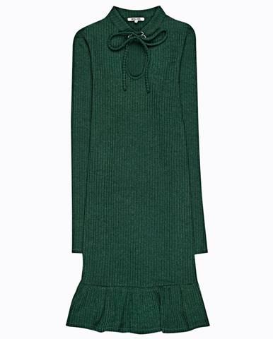 Rebrované šaty s volánom a šnurovaním
