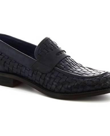 Mokasíny Leonardo Shoes  7888 TOM VITELLO DELAVE BLU INTRECCIATO