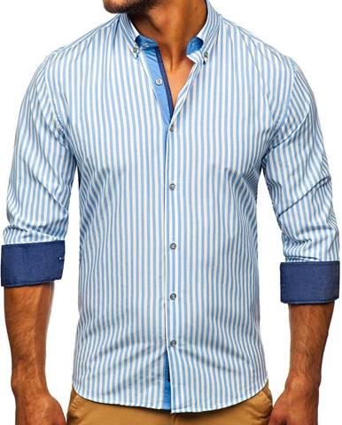 Blankytná pánska prúžkovaná košeľa s dlhými rukávmi