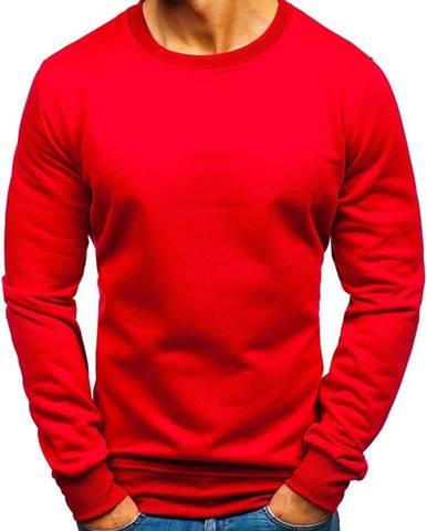 Tmavočervená pánska mikina bez kapucne