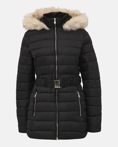 Čierny vzorovaný prešívaný zimný kabát Dorothy Perkins Tall
