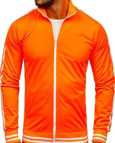 Oranžová pánska mikina na zips bez kapucne retro style