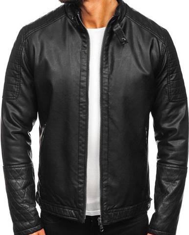 Čierna pánska zateplená motorkárska koženková bunda
