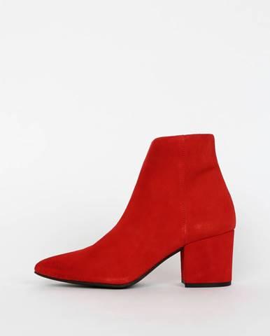 Červené semišové členkové topánky VERO MODA Astrid