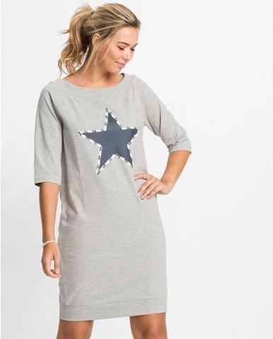Úpletové šaty s potlačou hviezdy