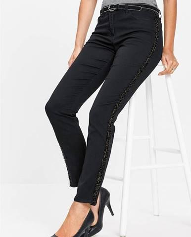 Strečové džínsy s ozdobnými pásikmi