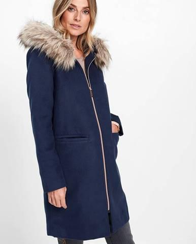 Krátky kabát s umelou kožušinkou