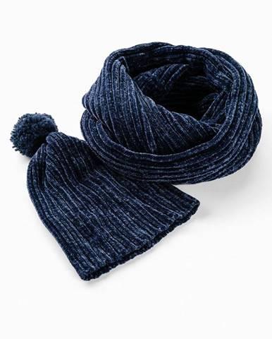 Ženilková pletená čiapka a tunelový šál, 2 ks