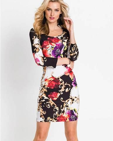 Úpletové šaty s dlhým rukávom a kvetovaným vzorom
