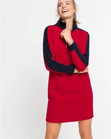 Flísové šaty s colorblocking