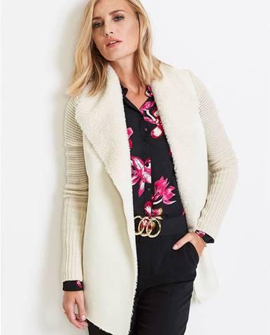 Pletený sveter s umelou kožušinkou