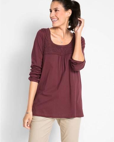 Bavlnené tričko s čipkou, dlhý rukáv