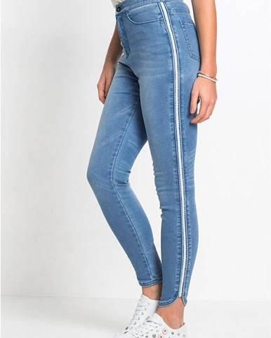 Super skinny džínsy s lesklým pásom, skrátené