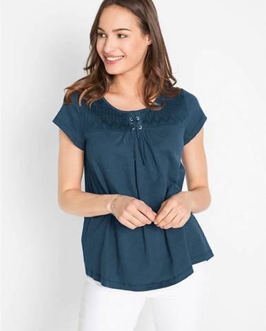 Bavlnené tričko s vypaľovaným vláknom, so šnurovačkou