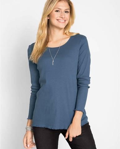 Bavlnené vrúbkované tričko, dlhý rukáv