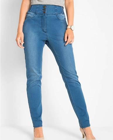 Strečové džínsy s nariasenými časťami, vysoký strih