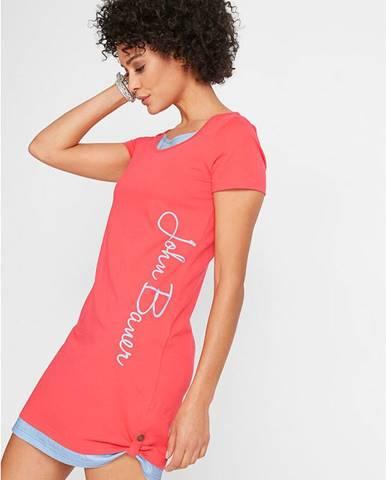 Úpletové šaty s potlačou, krátky rukáv