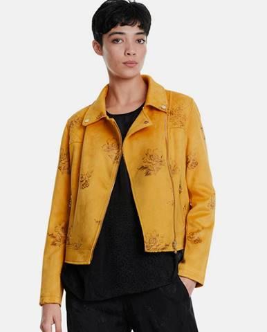 Horčicová kvetovaná bunda v semišovej úprave Desigual
