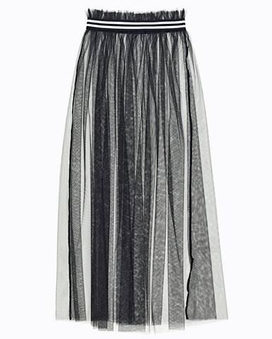 Dlhá sieťovaná sukňa s prúžkovaným pásom