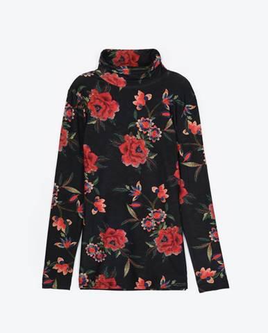 Tričko s kvetinovou potlačou a rolákom
