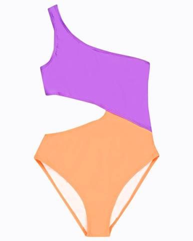 Viacfarebné plavky s jedným ramienkom
