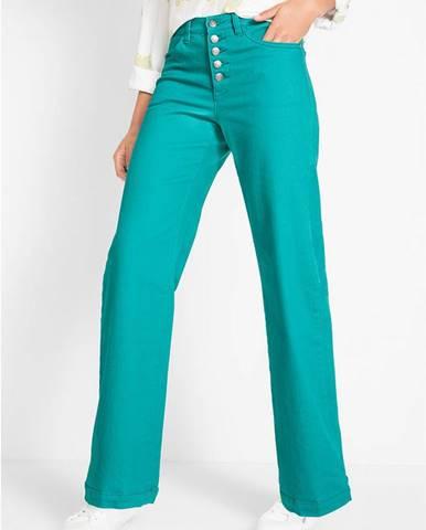Ľahké strečové džínsy s vysokým pásom, rozšírené
