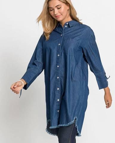 Džínsové šaty s golierom