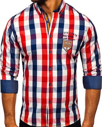 Červená pánska károvaná košeľa s dlhými rukávmi