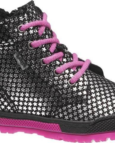 Bartek - Čierne kožené členkové tenisky s hviezdičkami Bartek