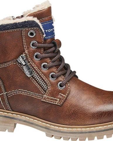 Tom Tailor - Hnedá členková obuv Tom Tailor so zipsom a Tex membránou