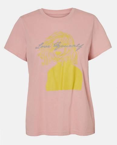 Ružové tričko s potlačou Noisy May Nate