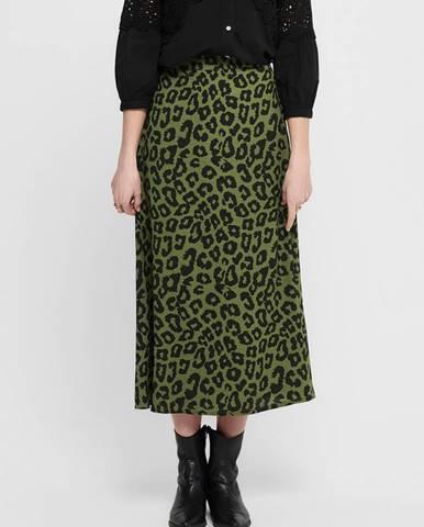 Zelená midi sukňa s leopardím vzorom Jacqueline de Yong Seda