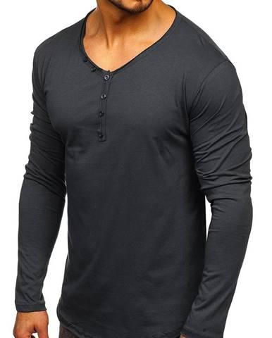 Grafitové pánske tričko s dlhými rukávmi bez potlače