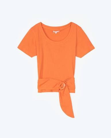 Rebrované tričko s krátkym rukávom s prackou vpredu
