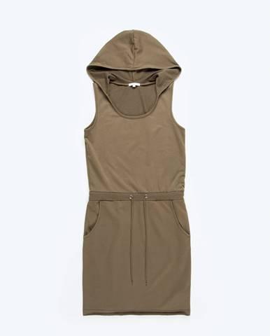 Jednofarbené šaty s kapucňou