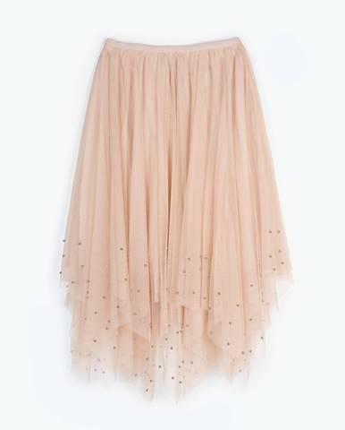 Dlhá tylová sukňa s perlami