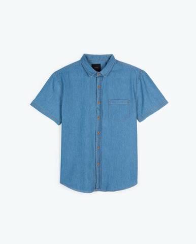 Denimová košeľa s krátkym rukávom