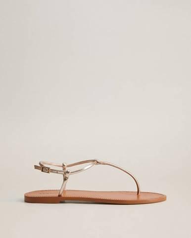 Kožené sandále v zlatej farbe Mango Formen