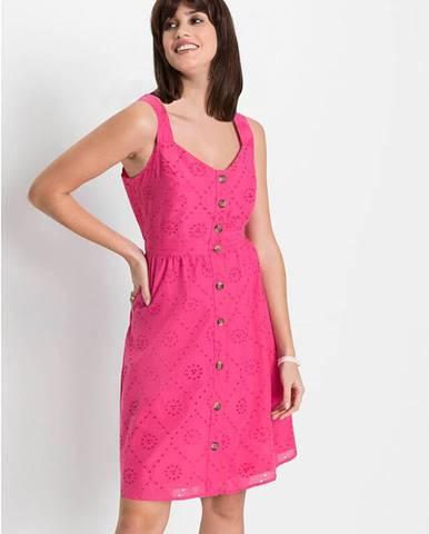 Šaty s dierkovanou vyšívkou a s gombíkmi