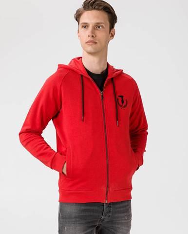 Mikina Trussardi Full Zip Fleece With Hood Pure Cotton Regular Fit Červená