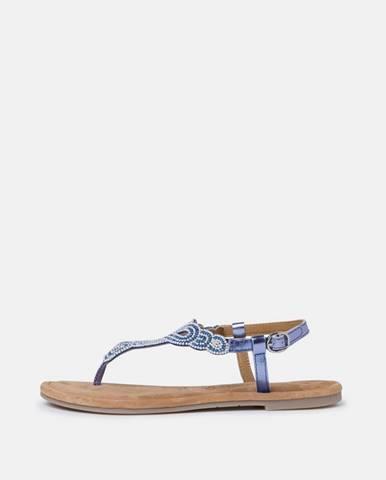 Modré kožené sandále s korálkami Tamaris