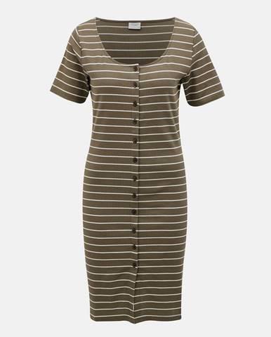 Kaki pruhované šaty Jacqueline de Yong Nevada