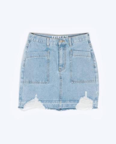 Denimová mini sukňa s obnoseným vzhľadom