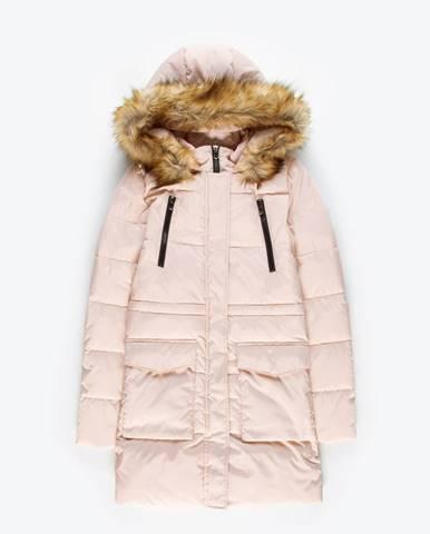 Dlhá prešívaná vatovaná bunda s kapucňou
