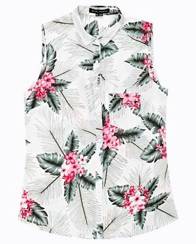 Viskózová košeľa bez rukávov s kvetinovou potlačou